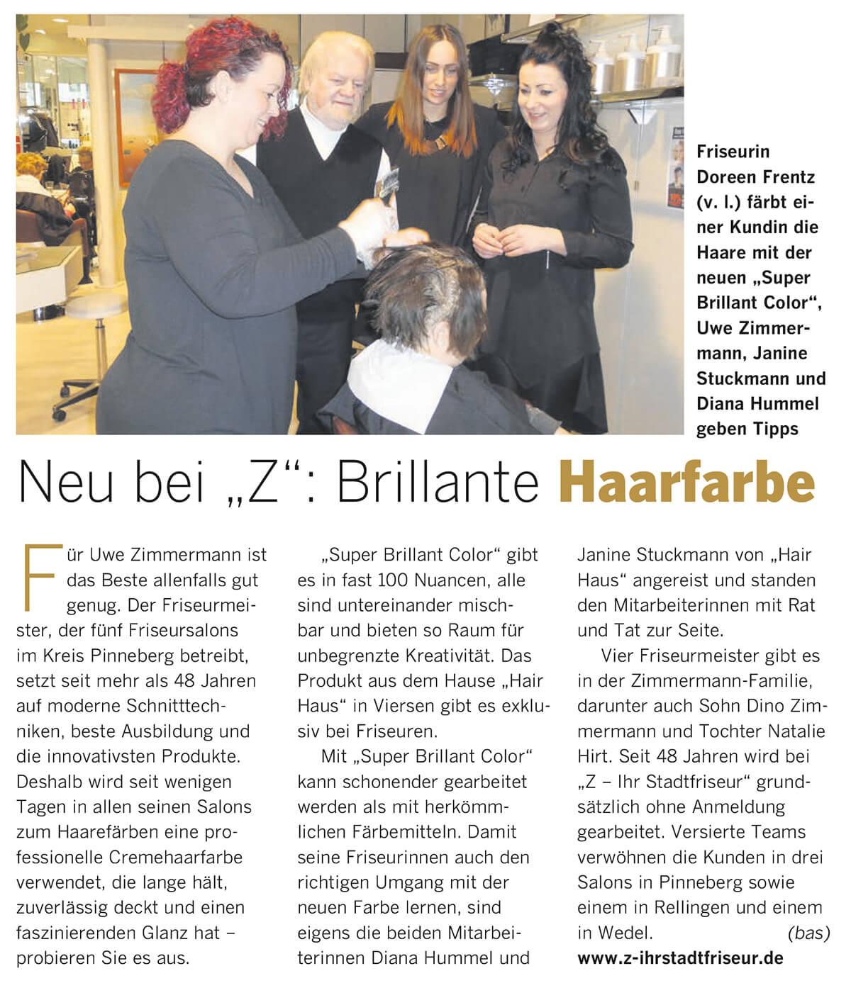 Neu Bei Z Brillante Haarfarbe Ihr Stadtfriseur Uwe Zimmermann
